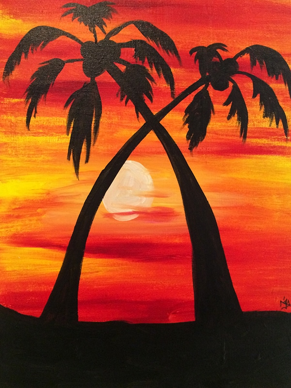 7 13 palm tree sunset canvas painting event sgf 7 9 rsvpaint